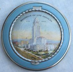 Vintage Los Angeles Souvenir Powder Compact