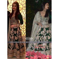 Beautiful Aishwarya Bollywood Designer Green Silk Suit BT1007