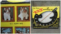 """1963 Craft Master """"1-2-3"""" Oil Painting Set - Paint-by-Numbers Kit """"FLUFFY PETS"""" K-2 A, B by ElkHugsVintage on Etsy"""