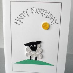 Birthday card - quilled sheep £5.00