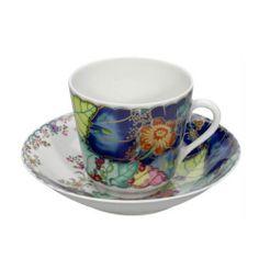 Antique Tea Cups Dress Up A Shelf, Table, Desk... - Mottahedeh Tobacco Leaf Tea Cup/Saucer.