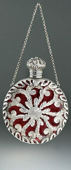 Cranberry Glass Scent Bottle - French