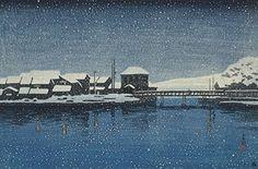 "Japanese Art Print ""Evening Snow at Ebisu Port (Sado Ebisu Minato)"" from the Series ""Souvenirs of Travels (2nd Series)"" by Kawase Hasui. Shin Hanga and Art Reproductions http://www.amazon.com/dp/B00ZJQ0Z5K/ref=cm_sw_r_pi_dp_Sjbtwb02EMWZE"