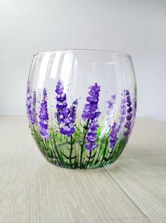 Discover thousands of images about Lavender Wine Glass Gift Stemless wine glass Violet Purple Flowers glasses Personalized Gift Hand Painted Provence Decor Thanksgiving gift Wine Glass Crafts, Wine Bottle Crafts, Wine Bottle Art, Painted Glass Bottles, Glass Jars, Decorated Bottles, Painted Vases, Glass Painting Designs, Hand Painted Wine Glasses