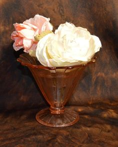 Pink Depression Glass Vase with Flower Frog by MaltKilnCottage on Etsy