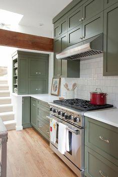 The End of an Era: No More White Kitchens | Jillian Harris Design Inc. Olive Green Kitchen, Sage Kitchen, Green Kitchen Cabinets, Kitchen Cabinet Colors, Painting Kitchen Cabinets, Kitchen Paint, Farmhouse Kitchen Decor, Kitchen Colors, White Cabinets