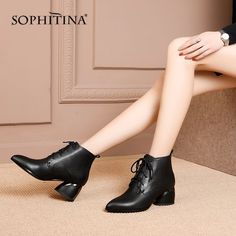 SOPHITINA New Women's Boots High Quality Genuine Leather Sexy Pointed Toe Fashion Cross-tied Shoes Special Ankle Boots Outfit Accessories From Touchy Style. Black Ankle Boots Outfit, Shoes Boots Combat, Shoes Boots Timberland, High Ankle Boots, Women's Boots, Bootie Boots, Shoe Boots, Cute Sandals, Cute Shoes