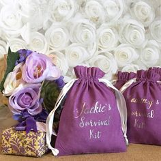 Personalized Purple Survival Kit Party Favors, Bridal Shower, Bridesmaid, Wedding, Birthday, Bachelorette, Thank you-Drawstring Cotton Pouch by SpanishVelvet on Etsy
