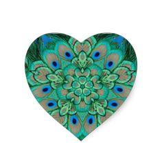 """Peacock Mandala Valentine Blue Green Eye Sticker,"" via Zazzle"