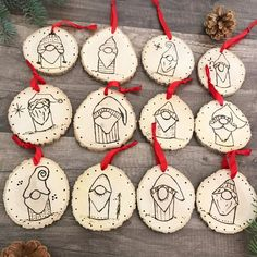 Hand Burned Wood Slice Ornaments - Set of 5 Gnome Ornaments, Wood Ornaments, Handmade Ornaments, Diy Christmas Ornaments, Christmas Decorations, Scandinavian Christmas Ornaments, Wood Burning Crafts, Wood Burning Patterns, Wood Burning Art