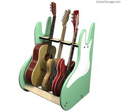 RetroRack™ Deluxe 3 Guitar Stand. Nitrocellulose-safe felt at all touch points. Sexy curves. Simple assembly. View details and color options at http://guitarstorage.com/shop/three-guitar-stand-retro-deluxe/