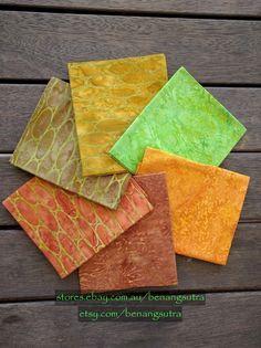 """Jasper Jewels"" Batik Fabric Fat Quarter Pack (6 pieces) - 50cm x 56cm or 20"" x 22"" - $24.50"