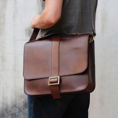Handmade leather men Briefcase messenger large vintage shoulder ...