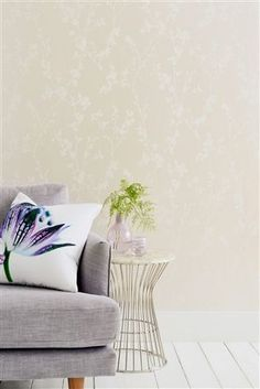 Buy White Blossom Print Wallpaper from the Next UK online shop