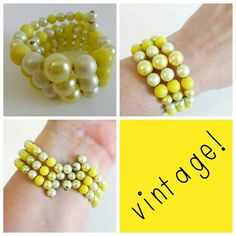SALE! New Lower Price - Vintage Yellow Beaded Cuff Yellow and pearl beads formed into a cuff that goes on easily and stays put. Will fit all size wrists! Vintage - pre loved - beads show slight wear but nothing too bad - was $13 Vintage Jewelry Bracelets