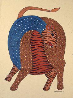 "Gond Painting #16 - Tiger Rajendra Shyam - Patangarh, Madhya Pradesh State, India c.2012 Acrylic on paper (15"" h. x 11"" w. )"
