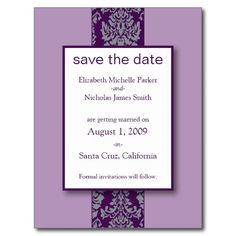 Lilac Baroque Damask Save the Date Postcard