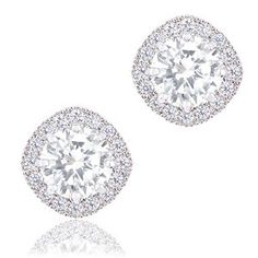 18k White Gold Plated Cubic Zirconia Cushion Shape Halo Stud Earrings (1.90 carats)
