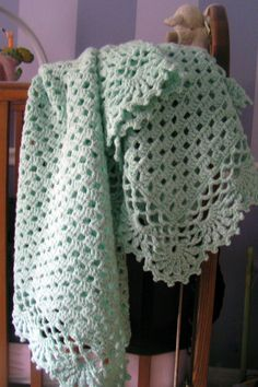 Mint Green Baby Afghan Blanket Hand Crocheted by whytehook on Etsy, $48.00