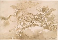 Giovanni Domenico Tiepolo | Blindfolded Cupid in a Dove-Drawn Car | Drawings Online | The Morgan Library & Museum