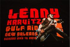 """Lenny Kravitz """"2010 Gulf Aid"""" Rock Concert T Shirt RARE Promotional Collectible 