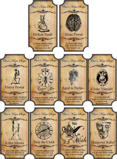 Halloween Magic Steampunk Label Glossy Stickers Set of 10 Scrapbooking Crafts | eBay