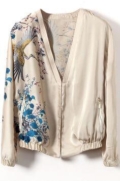 #Romwomen                Flying Bird Print V-neck Jacket