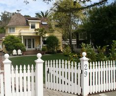 White picket fence and charming historic home on Poplar in Ross, Marin County, CA
