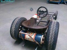 wheelbarrow go-kart rat rods Soap Box Derby Cars, Soap Box Cars, Custom Radio Flyer Wagon, Radio Flyer Wagons, Triumph Motorcycles, Cars And Motorcycles, Go Kart Designs, Custom Rat Rods, Homemade Go Kart