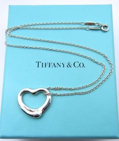 666658fc0 Authentic Tiffany and Co Elsa Peretti Open Heart Necklace - Sterling Silver  Large Heart Pendant - Tiffany & Co 17