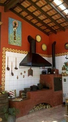 Color is Sherwin Williams Raisin Mexican Kitchens, Antique Stove, Wood Fired Oven, Hacienda Style, Stove Fireplace, Rocket Stoves, Summer Kitchen, Back Patio, Outdoor Cooking