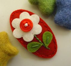 NO SLIP Wool felt hair clip jelly buttoned flower by MayCrimson