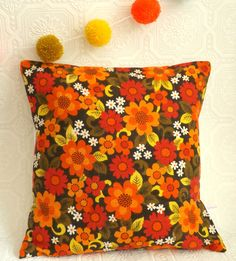 Cushion  Pillow Cover in Vintage Barkcloth by littleteawagon, £10.00