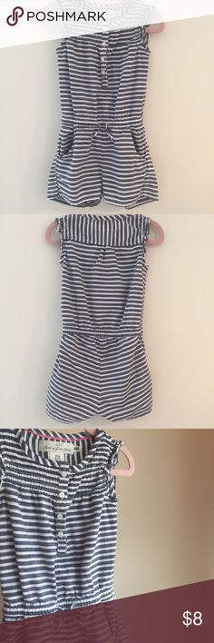 H&M Striped Romper H&M Romper in Blue and White stripes. Button front. Adjustable drawstring waist. 2 front pockets. Ruffle detailing. 100% Cotton. Gently used and in Excellent condition. H&M One Pieces