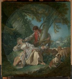 François Boucher (1703–1770) The Interrupted Sleep, 1750, oil on canvas Overall 32 1/4 x 29 5/8 in. (81.9 x 75.2 cm); painted surface (irregular oval) 31 x 27 3/4 in. (78.7 x 70.5 cm) The Jules Bache Collection, 1949 Accession Number: 49.7.46 Met