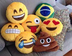 Boa tarde almofadas divertidas! #emoticons#almofadas#almofada#cool#emoticon#emoji#coco#smile#sofa#casa www.vintagecool.com.br