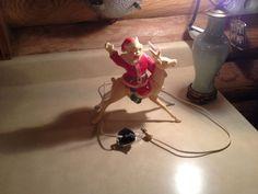 Vintage HI HO Santa On Reindeer Hard Plastic Lightup Miller Electric Works