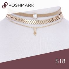 3 Chain Choker 3 stackable chokers. Can be worn together or separate. Tan, Crystal, and Gold chains Jewelry Necklaces