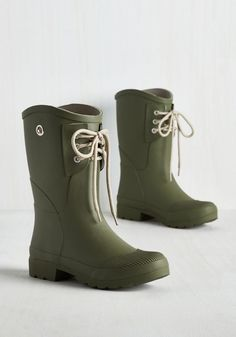YES! - These green ones with laces. | 25 Pairs Of Rain Boots That Are Actually Cute