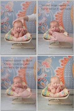 Layering photos using infant pics