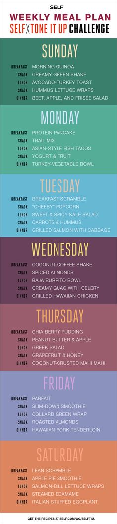 Self x Tone It Up Challenge - SELF Magazine's Week 1 Meal Plan