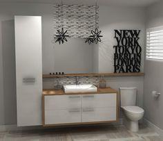 White and Wood Bathroom Decor Bathroom Interior, Double Vanity, Sweet Home, New Homes, Shower, Interior Design, House, Walmart, Home Decor