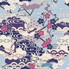 Japanese Patterns, Japanese Fabric, Japanese Art, Fabric Textures, Fabric Patterns, Drawing Sketches, Drawings, Kimono Pattern, New Chinese