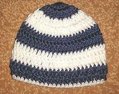 Newborn Baby Boy Navy Dark Blue White Crochet Beanie Hat Shower Handmade NB 0-3