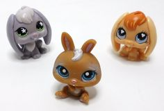 Littlest Pet Shop Bunnies, Dwarf 220, long eared 480, 648 loose LPS bunny rabbit lot with tan Dwarf #220, long lop eared rabbit #480, and #648. These bunny rabbits are loose and will make great addition to collections or just great little gifts.