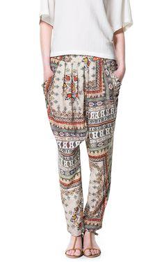 Zara Printed Harem Pants