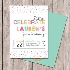 Girl Birthday Invitation // Polka Dot Party // Sprinkles Party // Baby Sprinkle Invitation // DIY Printables