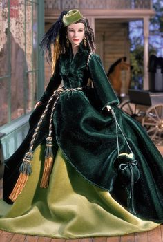 Barbie modeling the greatest up-cycle of all time:  Scarlett's fabulous curtain dress from Gone With the Wind.