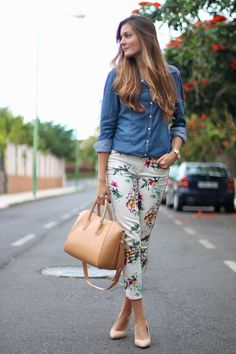 Floral pants,nude shoes and denim.