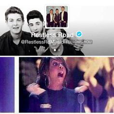 When Restless Road follows you on twitter..or calls you I still can't believe they called me ~ Amelia